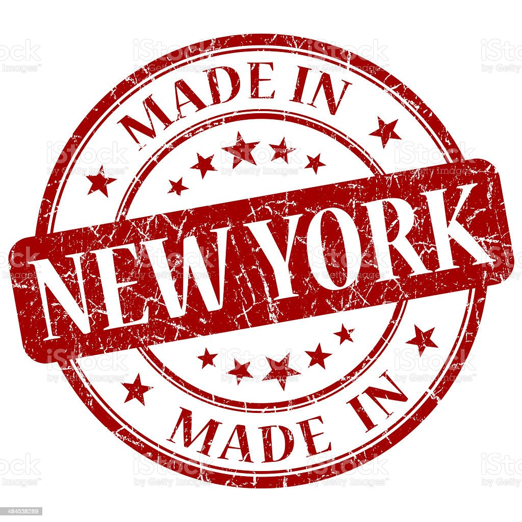 made in New York red round grunge isolated stamp stock photo