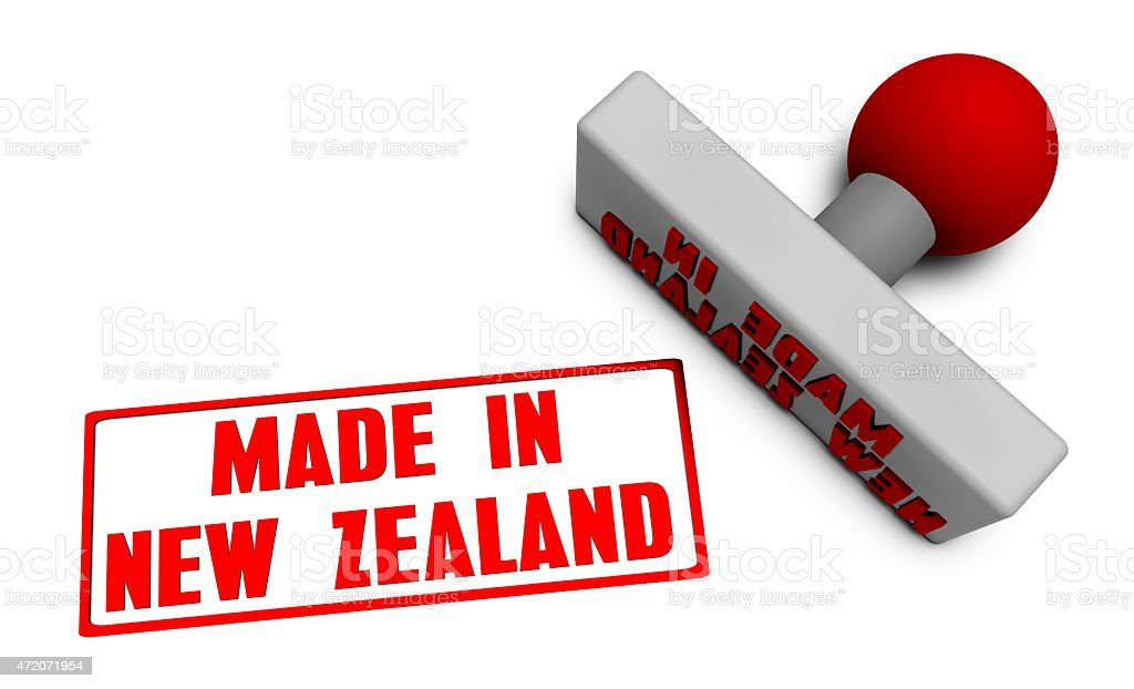 Made in New Zealand Stamp stock photo