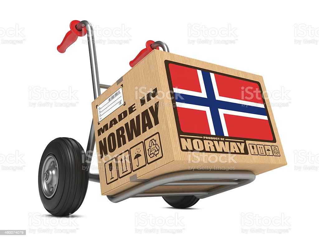 Made in Norway - Cardboard Box on Hand Truck. royalty-free stock photo