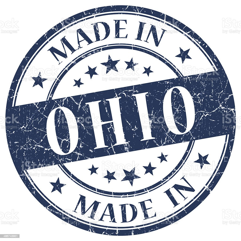 made in Ohio blue round grunge isolated stamp stock photo