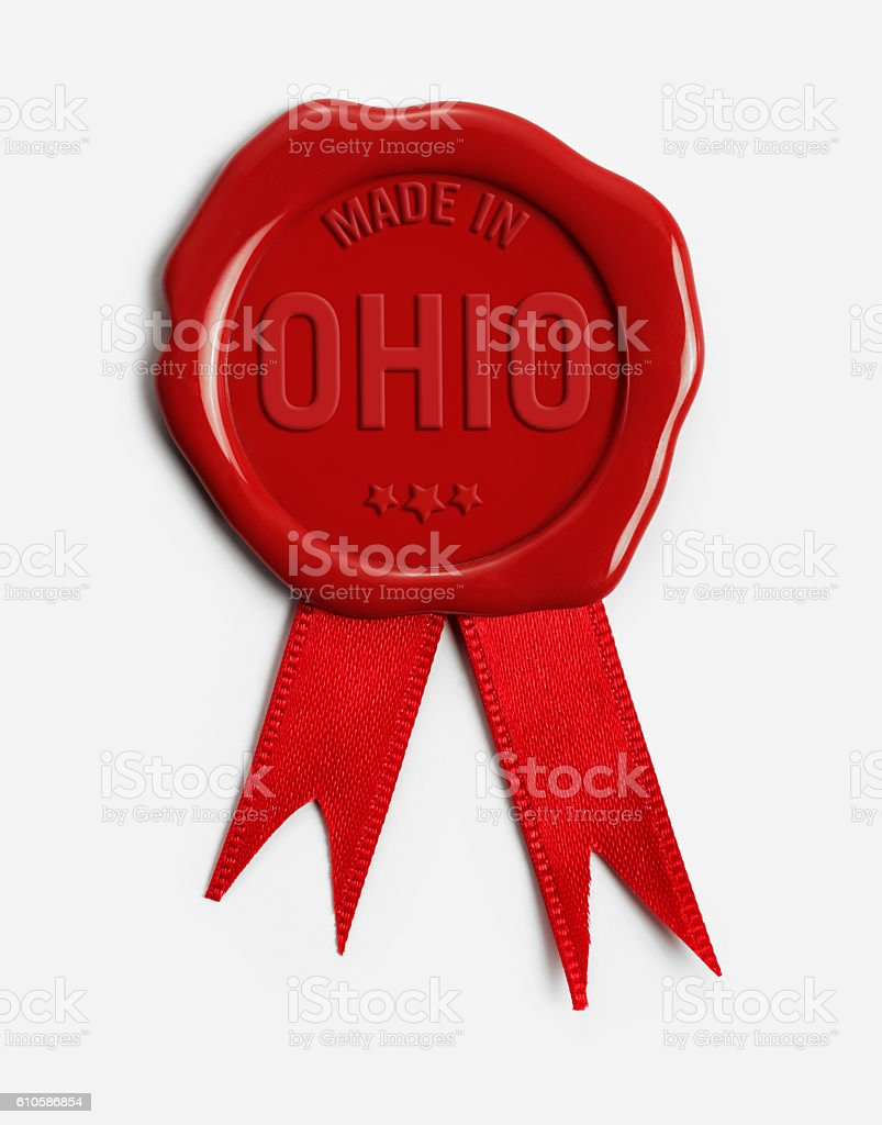 Made in Ohio Wax Stamp stock photo