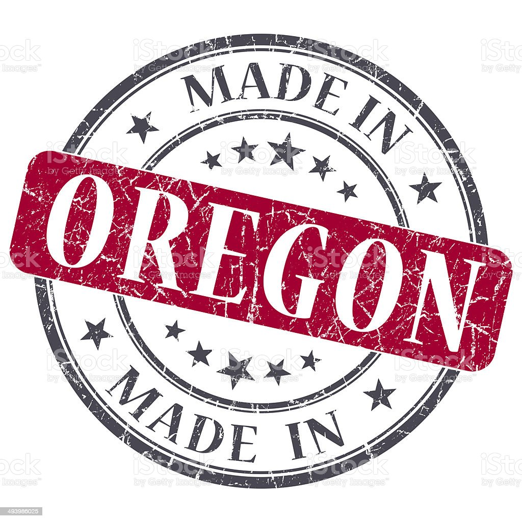made in Oregon red round grunge isolated stamp stock photo