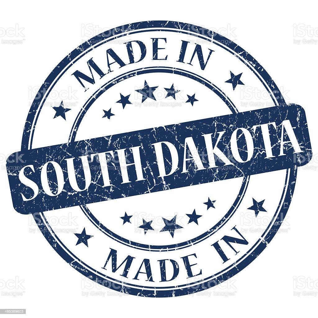 made in South Dakota blue round grunge isolated stamp stock photo