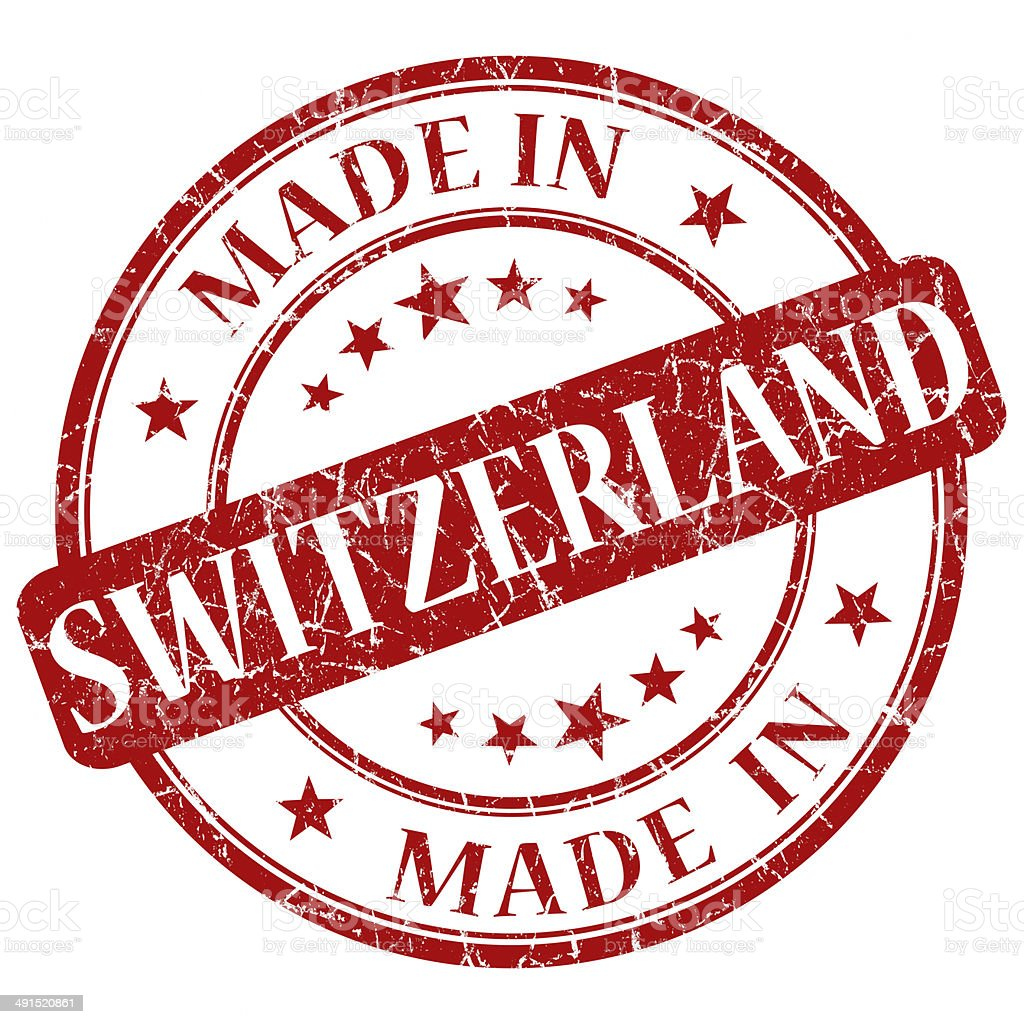 Made In Switzerland red stamp vector art illustration
