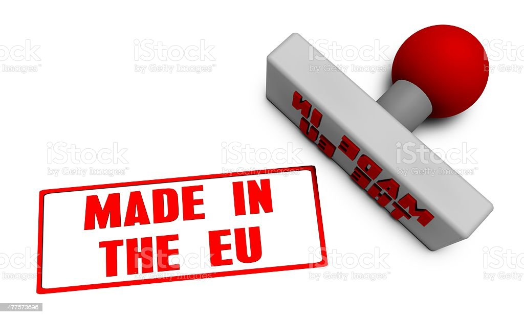 Made in the EU Stamp stock photo