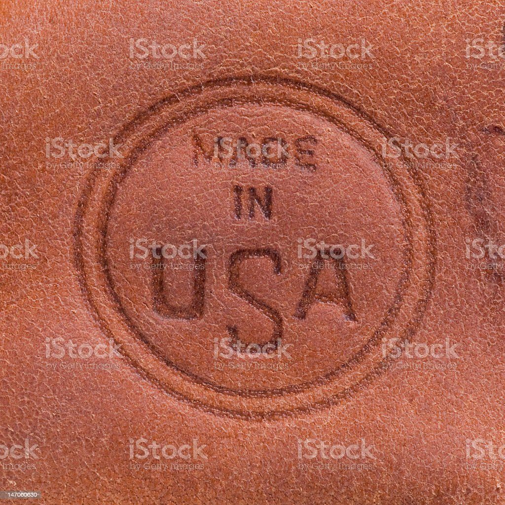 Made in the USA label branded in leather stock photo
