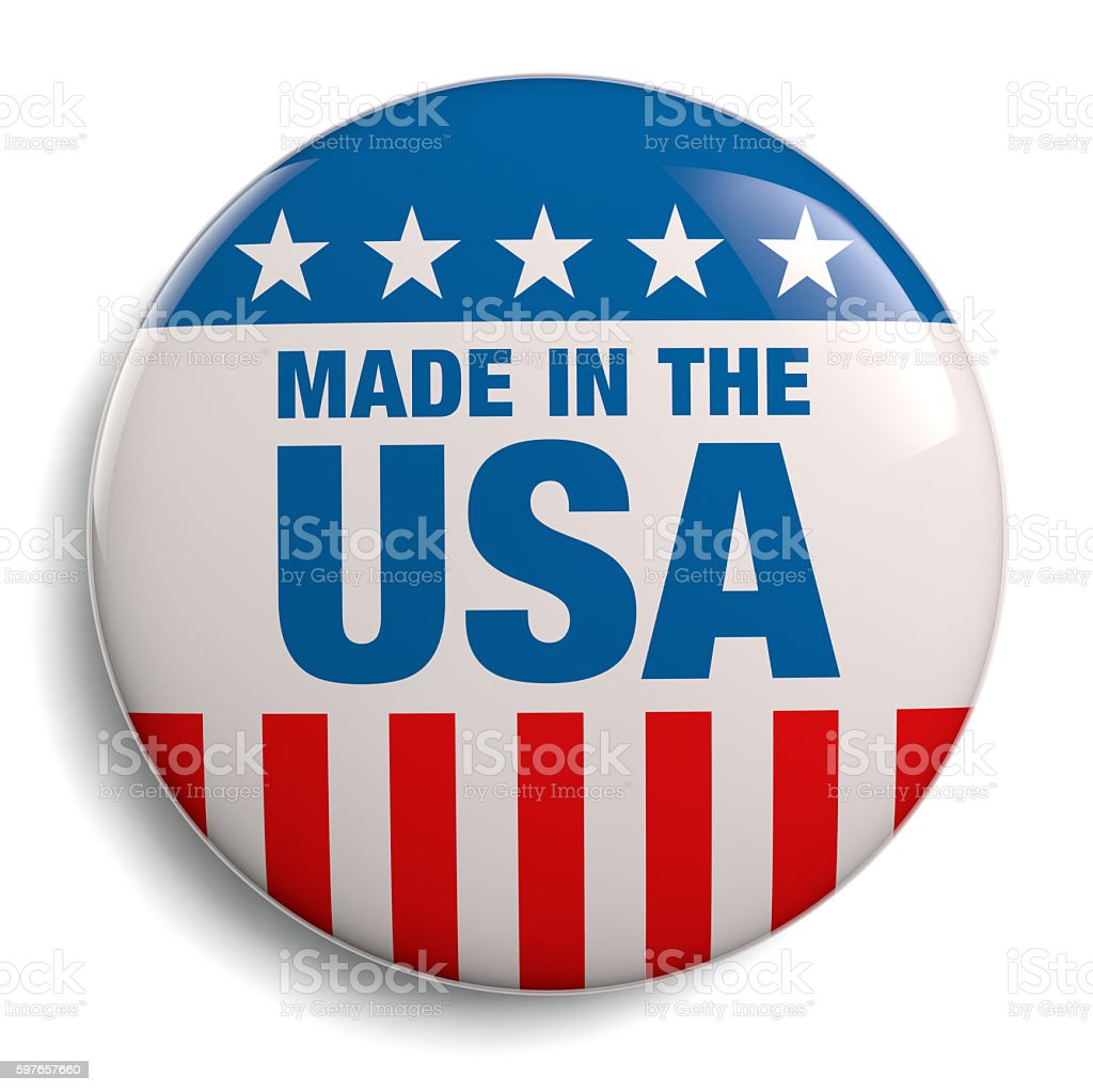 Made in USA American Button stock photo