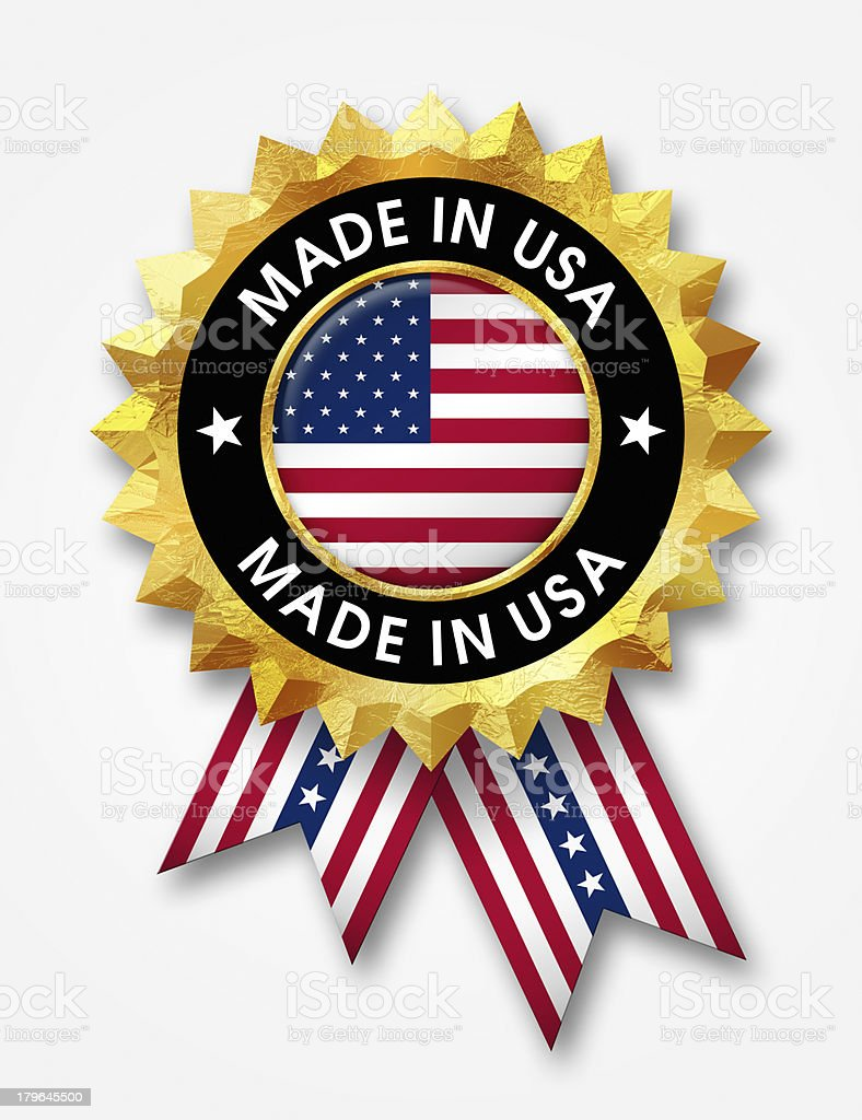 made in usa badge stock photo