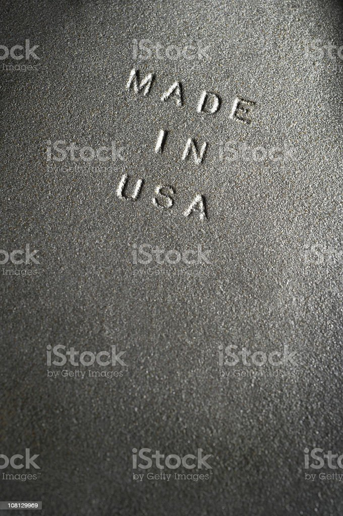 Made In Usa  Embossed Old Iron Plate royalty-free stock photo