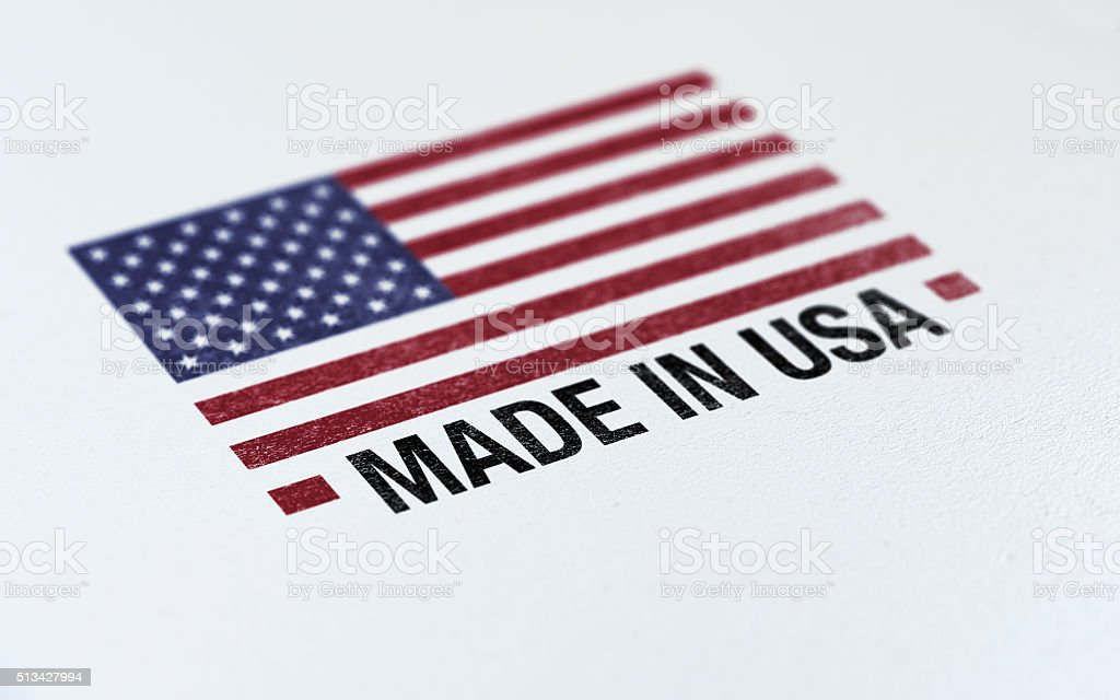 Made In USA Flag  Barcode On White Paper stock photo