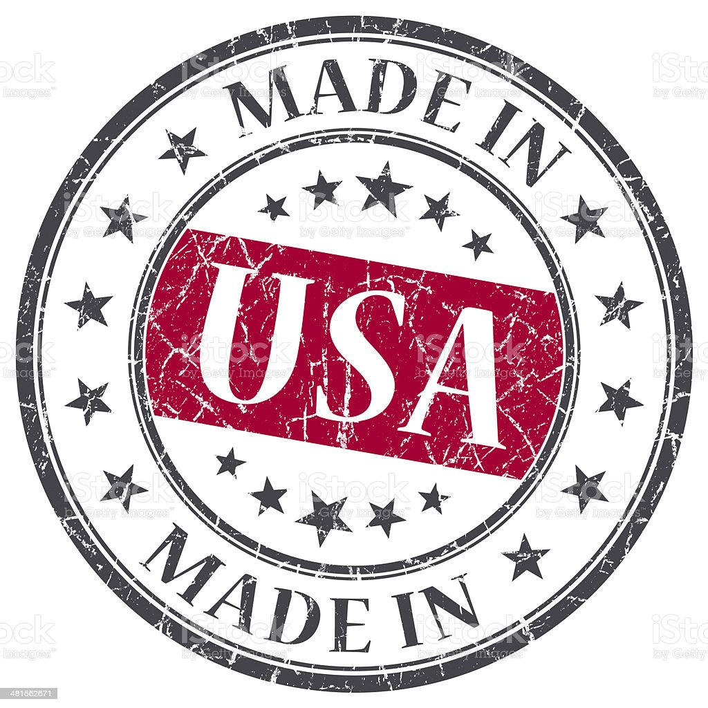 made in USA red grunge round stamp isolated stock photo