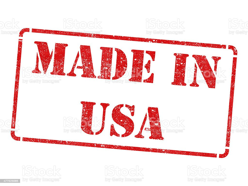 Made in USA - Red Rubber Stamp. royalty-free stock photo