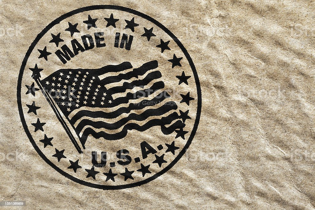 Made in USA Stenciled on Grungy Weathered Cardboard Box royalty-free stock photo