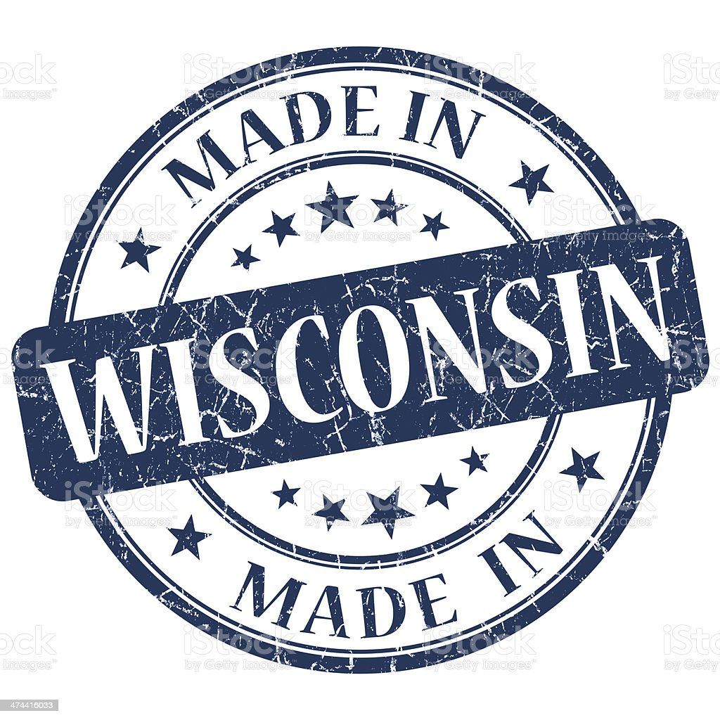 made in Wisconsin blue round grunge isolated stamp stock photo