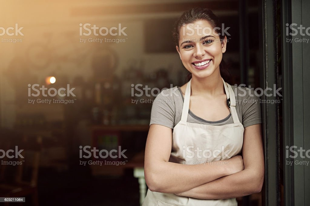 I made my coffee shop dreams come true stock photo