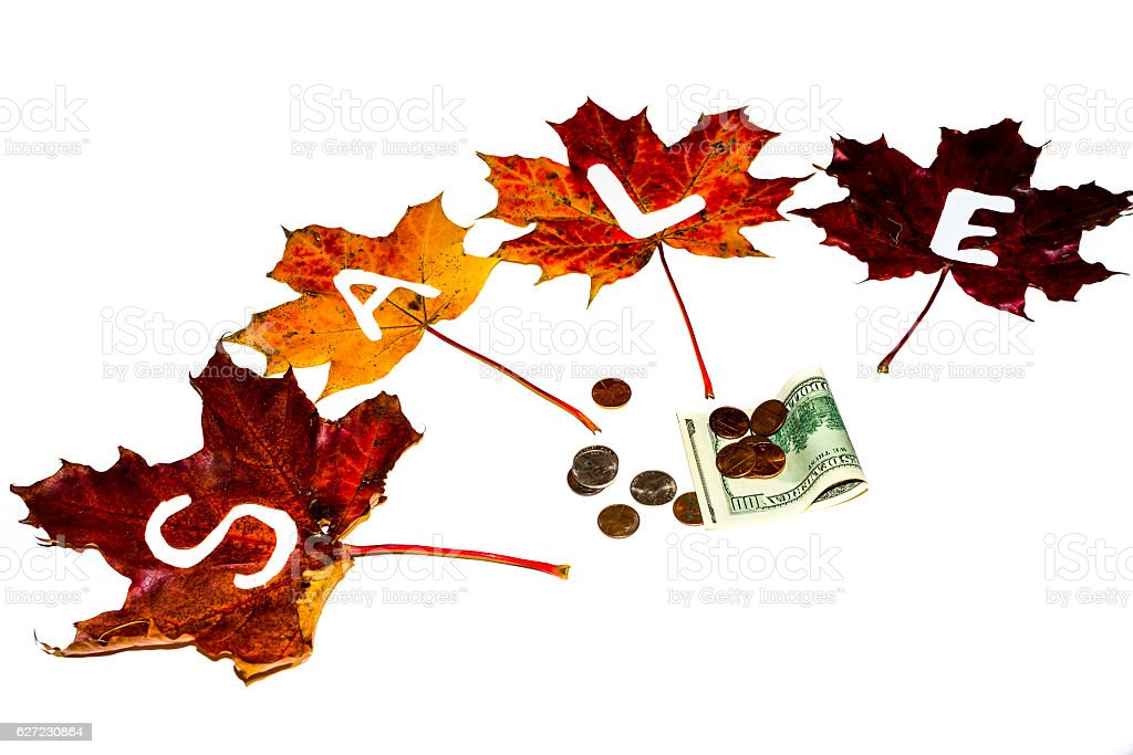 SALE made of autumn leaves. Seasonal sale concept. Shopping stock photo