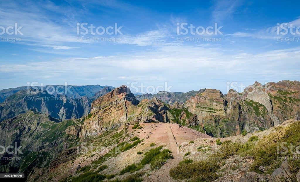 Madeira island mountain landscape view from Pico Arieiro stock photo