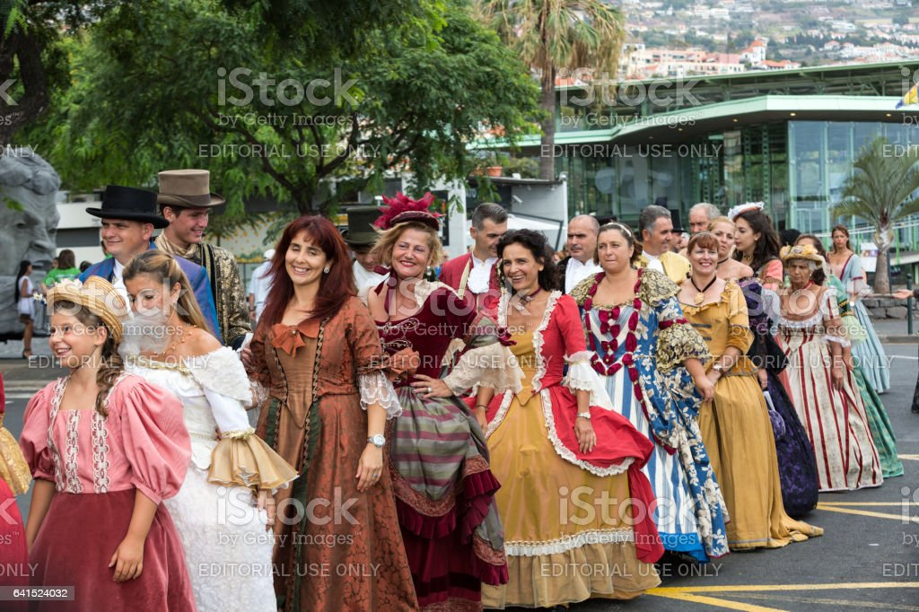 Madeira Wine Festival - Historical and Ethnographic parade in Funchal on Madeira. Portugal stock photo