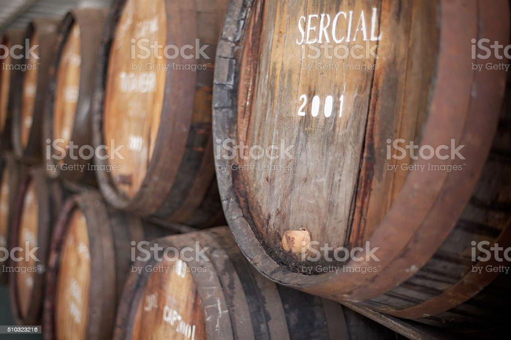 Madeiran wine casks stock photo