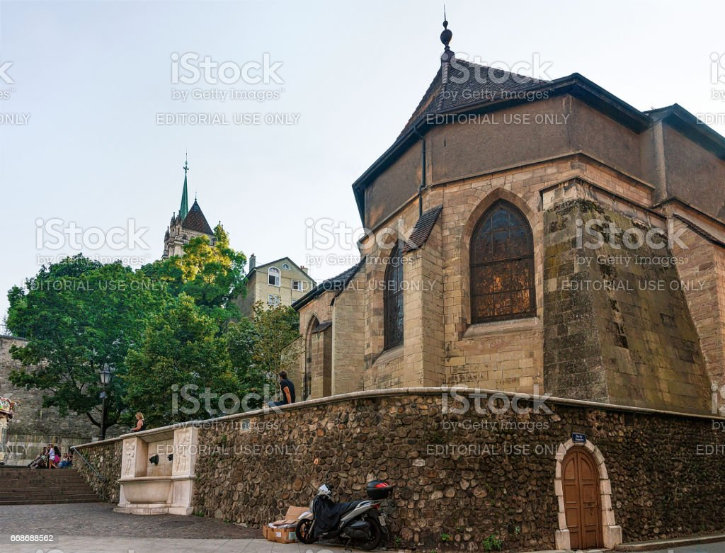 Madeleine Church in old town of Geneva Swiss stock photo
