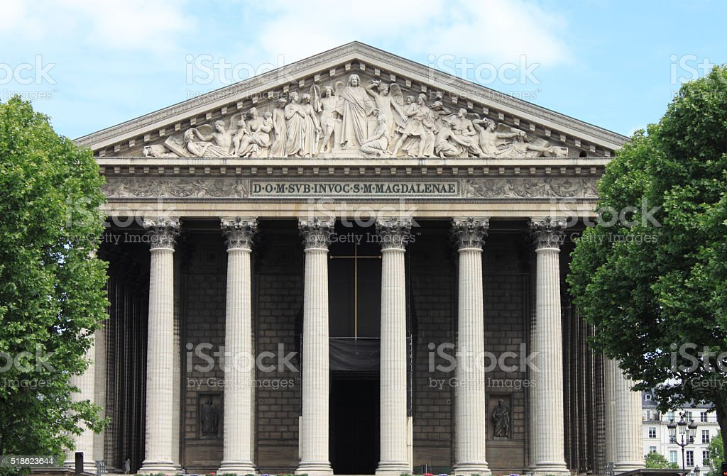Madeleine church in Paris stock photo