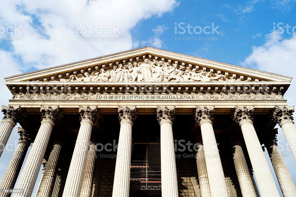 Madeleine Church in Paris stock photo