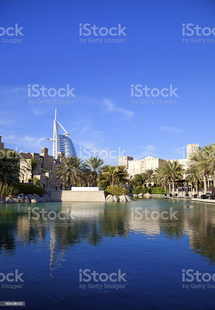 Madinat Jumeira and Burj Al Arab in background, Dubai stock photo