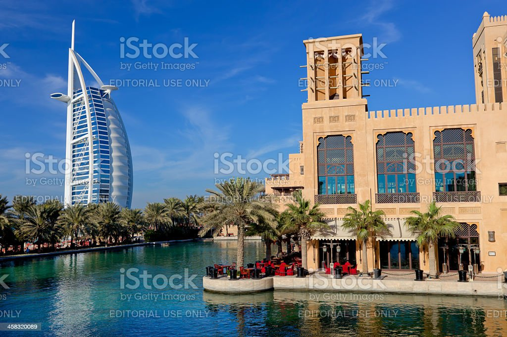 Madinat Jumeira and Burj Al Arab royalty-free stock photo
