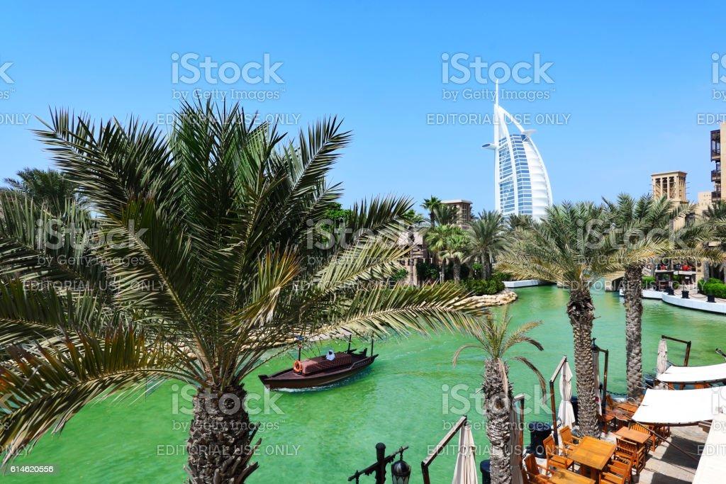 Madinat Jumeirah and the Burj al Arab Hotel in Dubai stock photo