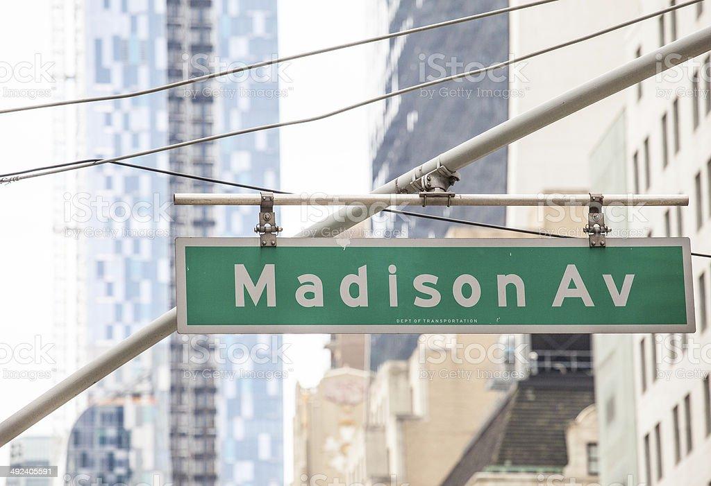 Madison Ave Street Sign stock photo