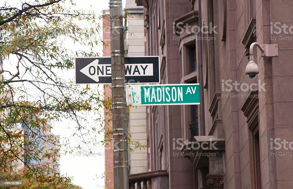 Madison Avenue road sign, New York stock photo