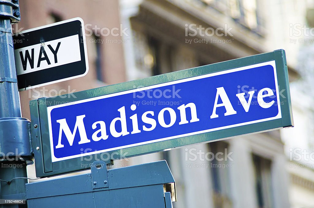Madison Avenue sign in New York City stock photo