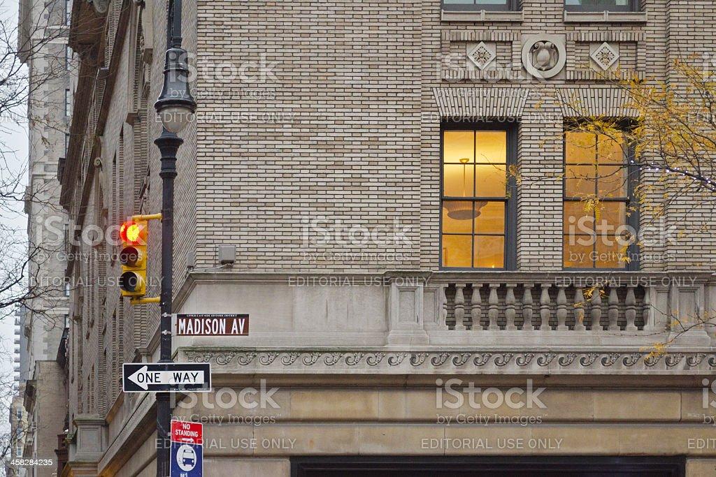 Madison Avenue Sign New York City. stock photo
