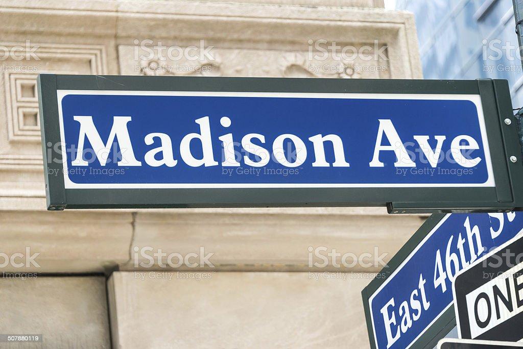 Madison Avenue Sign stock photo