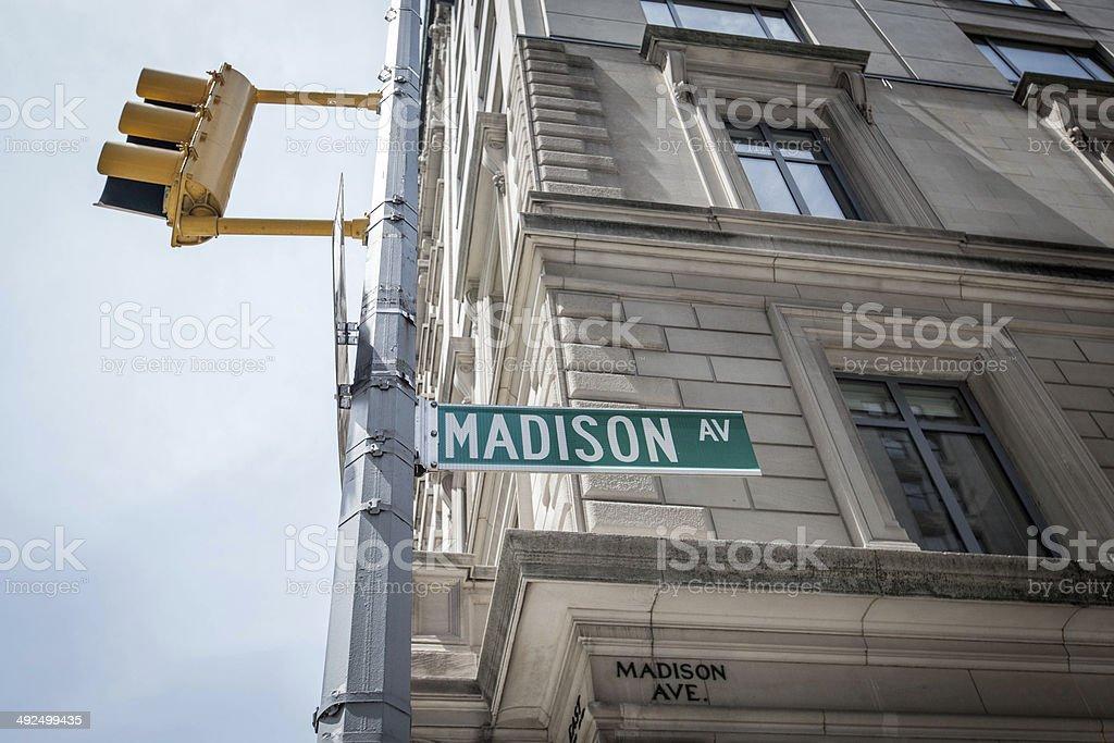 Madison Avenue Street Sign, New York City stock photo
