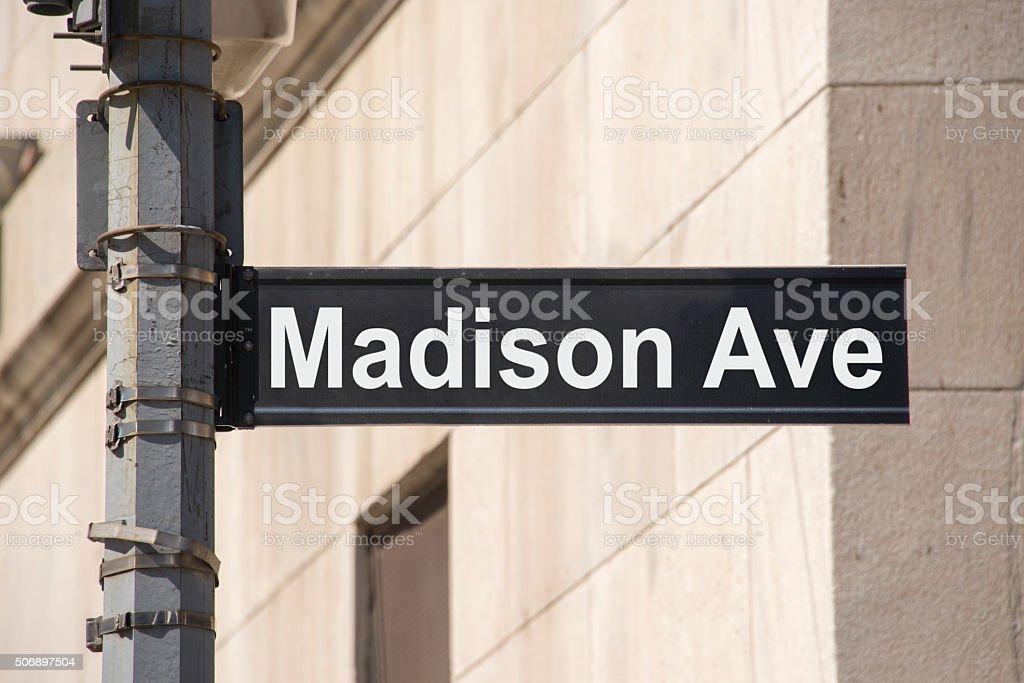Madison Avenue street sign stock photo