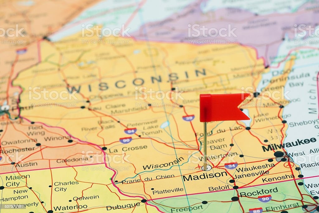 Madison pinned on a map of USA stock photo