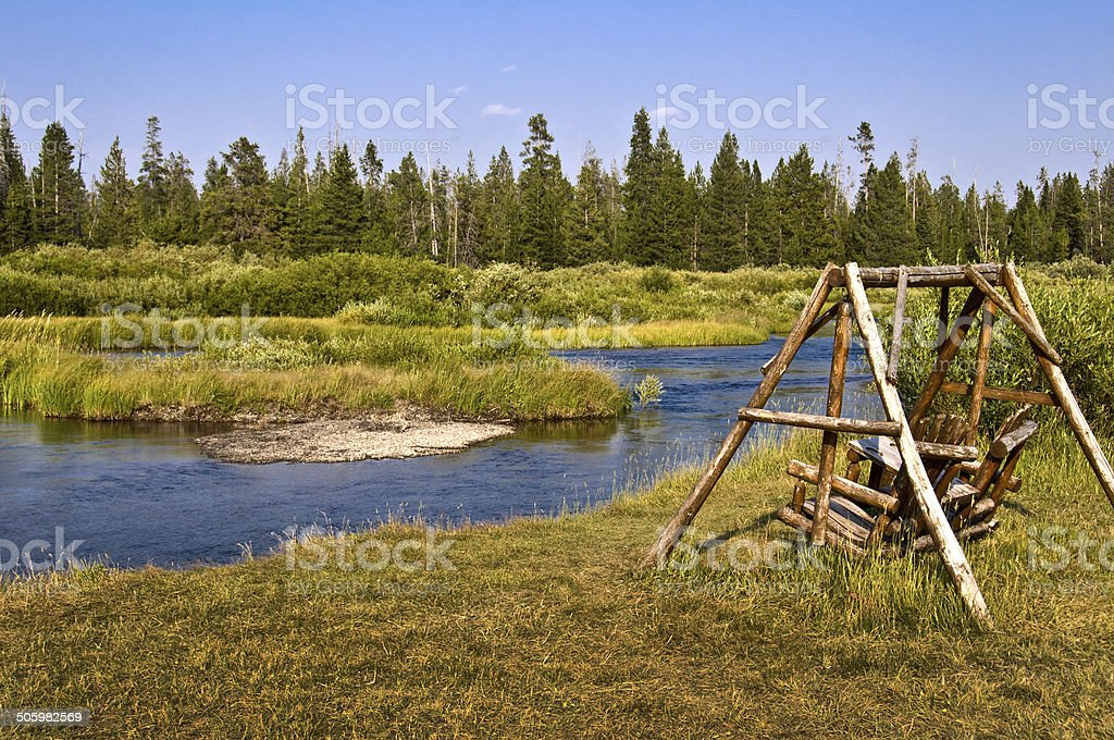 Madison river near West Yellowstone, Montana, USA stock photo
