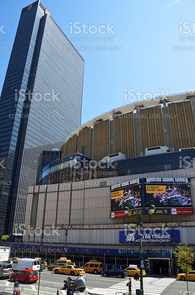 Madison Square Garden seen from 8th Avenue, Midtown Manhattan, N stock photo