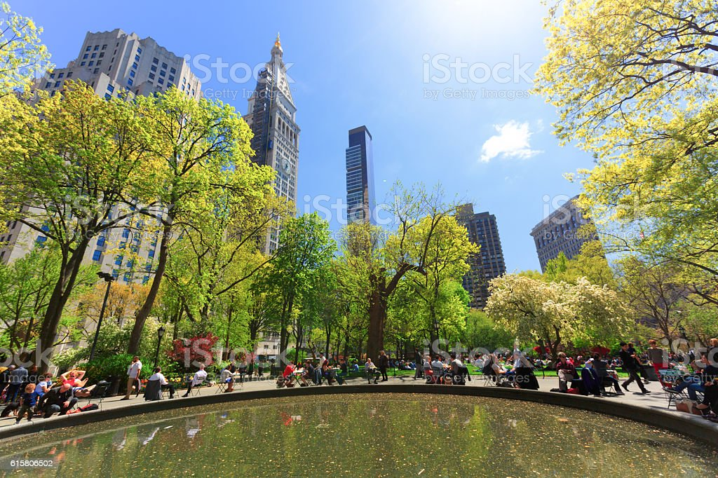 Madison square park in New York City stock photo