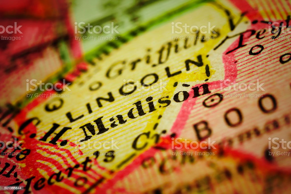 Madison, West Virginia on an Antique map stock photo