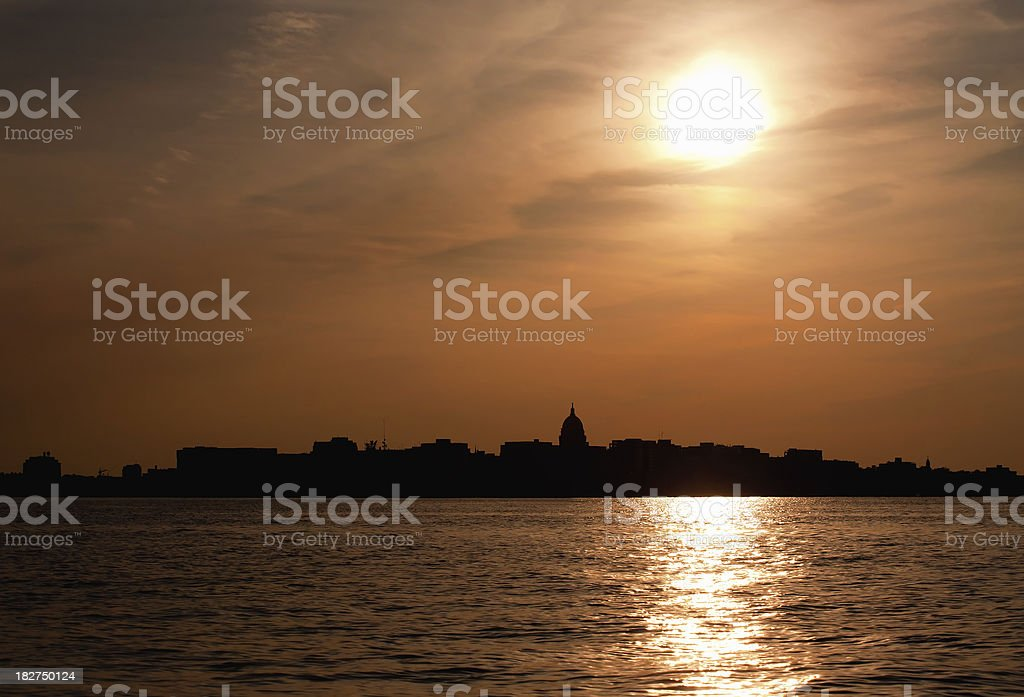 Madison Wisconsin backlit sunset stock photo