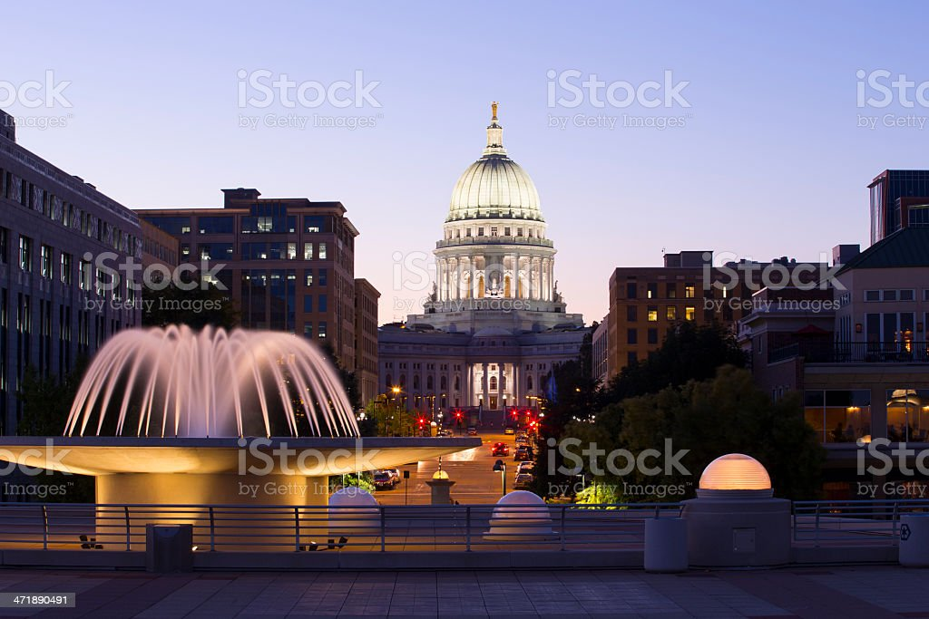 Madison, Wisconsin capitol building at night stock photo