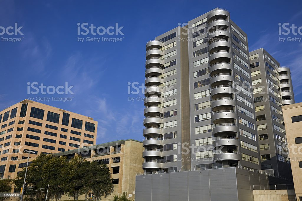 Madison, Wisconsin - lakefront buildings stock photo