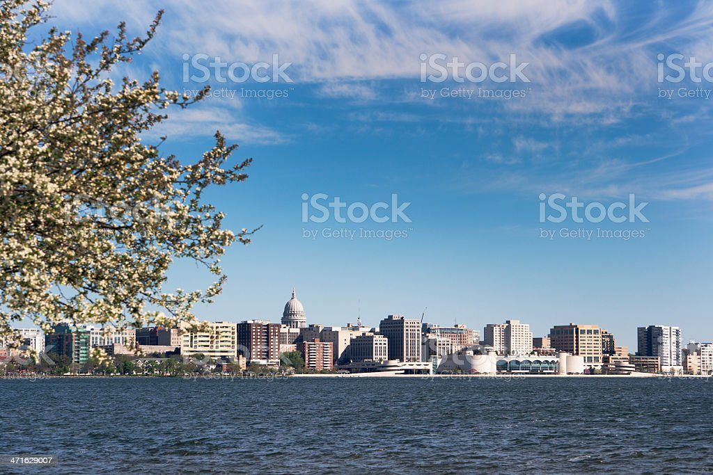 Madison, Wisconsin State Capitol Building and Downtown from Lake Monona stock photo