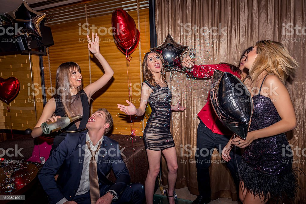 Madness at a party stock photo