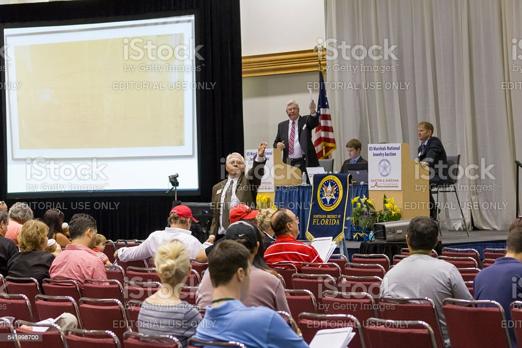 Madoff Property Auction at Convention Center of Miami Beach, Florida stock photo