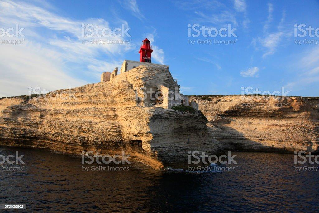 Madonetta lighthouse, entrance to Gulf of Bonifacio, Southern Corsica, France stock photo