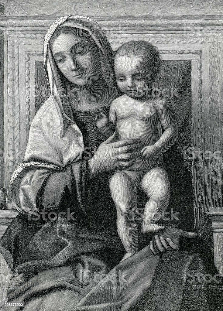 Madonna And Child Altarpiece From 1505 stock photo
