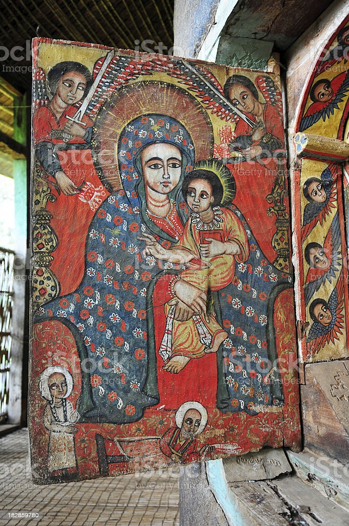 Madonna and Child at Ura Kidane Mere monastery in Ethiopia stock photo